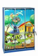 """Шафа дитяча 3-місна з фігурними дверима з фотодруком """"Ферма"""""""
