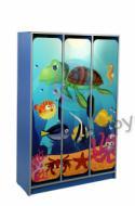 """Three-door children's wardrobe with figured doors, with photo print """"Underwater world"""""""