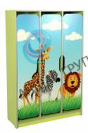 """Three-door children's wardrobe with figured doors, with photo print """"Savanna"""""""