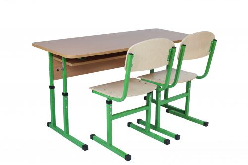 Set of student`s 2-seat table with a shelf, height-adjustable, height groups №4-6 + Student`s T-shaped chair height groups №4-6